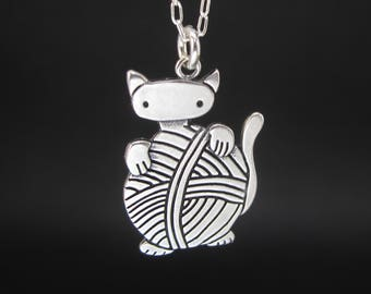 Sterling Knitten Necklace - Cute Silver Cat Pendant