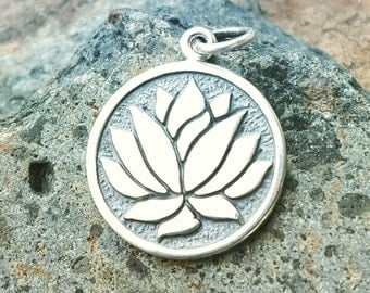 Lotus Flower Charm - Etched Sterling Silver Lotus Necklace
