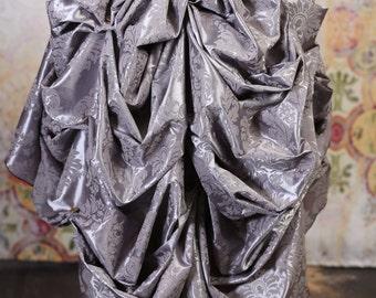Silver Damask Knee Length Bustle