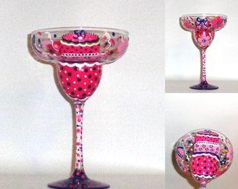 Personalized Handpainted Birthday Glass 100% Dishwasher Safe Finish! PINK & NAVY