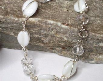 Wire Wrapped White Beaded Bracelet, White Beaded bracelet wire wrapped in silver, White Beaded Bracelet, Silver wrapped White Bead Bracelet