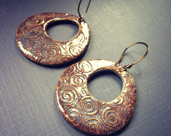 Large Ceramic Focal Earrings on Handmade wires