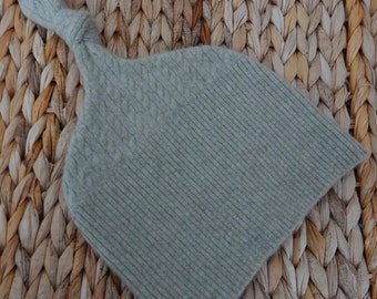 Recycled Light Olive Green Cashmere Baby Hat  12-24 months