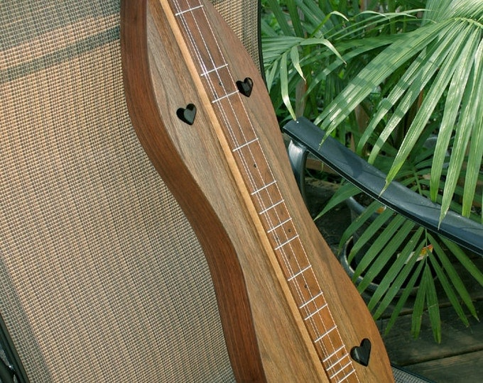 Walnut Mountain Dulcimer, 4-string, with size and electric options, Custom Case, and sound-hole choices
