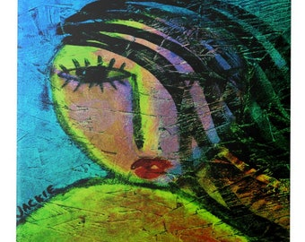 Beautiful Girl Abstract Portrait of a Woman Printed on Ceramic Tile