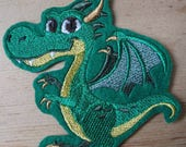 Fairy Tale Dragon Gothic Embroidered Iron On Patch, Patches, Embroidered Applique, Gothic Fantasy,, Medieval, Fairytale Dragon, Ancient Lore