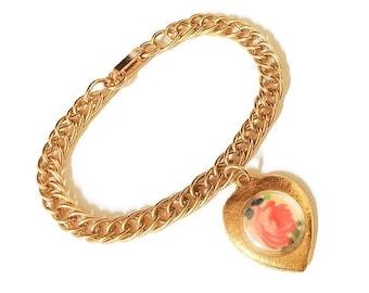 Vintage Photo Keepsake Bracelet, Heart Photo Charm Chain Bracelet