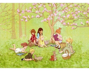 The reading Group Art print, childrens vintage illustration, Library art