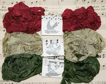 Seam Binding, Crinkled, 18 yds, AMERICAN BEAUTY, New Set, Dark Red ribbon, Green Ribbon, Dark Green, Shabby Ribbon, Vintage Style, Bias Tape
