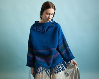 80s striped blanket sweater / royal blue fringe wool sweater / turtleneck ethnic sweater / s / m / 060t / B21
