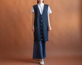 pure merino wool vest dress / navy blue knit midi dress / minimalist dress / s / m / l / 2137d / B2