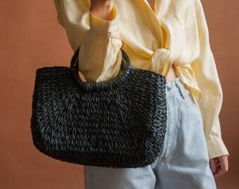 black straw tote bag / small woven market bag / small straw purse / 1644a