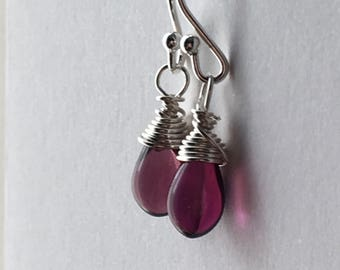 Purple Drop Earrings. Small Bead Earrings. Teardrop Earrings. Sterling Silver Earrings. Briolette Earrings. Wire Wrapped Earrings. UK Shop