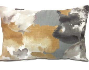 Decorative Lumbar Pillow Cover Same Fabric Front/Back Gray, Gold, White, Taupe, Black, Toss, Throw, Accent, 12x8 inch x