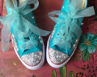 Customized Converse, Wedding Shoes, Turquoise Ombré painted Chucks for Bridal Party, Low Top Honeymoon Bling Flats Bride, Pageant Footwear