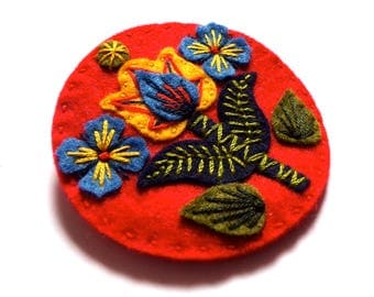 Oslo felt brooch pin with freeform embroidery - scandinavian style