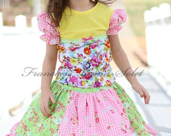 Colorful spring summer t-shirt twirl skirt outfit, yellow pink puff sleeve floral cotton t-shirt, green pink floral bird ruffled twirl skirt