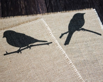 Birds Burlap Placemats - Spring housewarming gift for aviary themed bird lover home decor