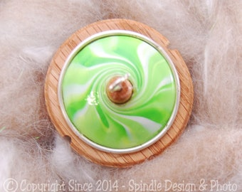 The Clay Sheep Drop Spindle - Lime Green Swirl Top Whorl Drop Spindle - Small .97 oz