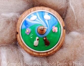 The Clay Sheep Drop Spindle - Alpaca or Llama Swirl Top Whorl Drop Spindle - Small .95 oz