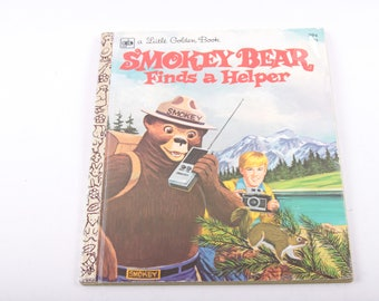 Smoky the Bear, Finds a Helper, Forest, Woodland, Fire Safety, Vintage, Children's, Book, Little Golden Book ~ The Pink Room ~ 170219
