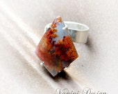 Garden sterling silver ring,moss agate open ring,gemstone ring,gift for her
