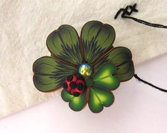Lucky Clover St Patrick's Day Needle Minder, Shamrock Needle Nanny, Ladybug Magnetic Brooch by Claybykim
