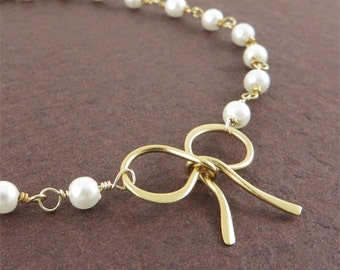 Gold Tie the Knot Bracelet with Pearl Ribbon Bow Bracelet on Holiday Sale Bridal Jewelry Sweet Love Gift for Girlfriend