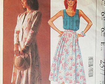1980s Vintage Sewing Pattern McCalls 2377 Misses Jacket, Top & Skirt Pattern Size 8 Bust 31 1/2