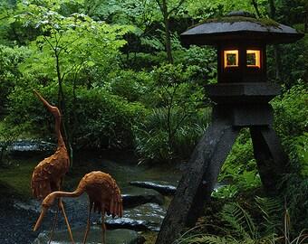 Digital Painting, Portland Japanese Garden, Cranes and Lantern