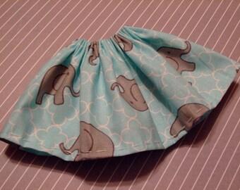 Blythe / DAL Skirt - Little Elephants On Sky Blue
