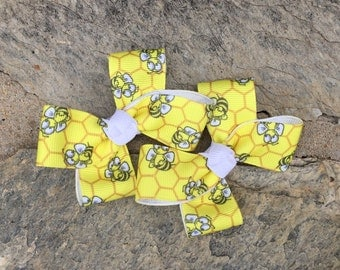 Bumble Bee Hair Bows,Pigtail Hair Bows,Toddler Hair Bows,Non Slip Hair Bows,3 Inch Hair Bows,Birthday Party Favors