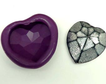 Heart Mold for Scrapbooking, Fondant, Polymer Clay, Resin, PMC Clay - Flexible Silicone Mold