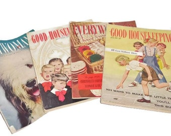 Four Vintage 1951-1952 Women's Magazines   Vintage Everywoman's and Good Housekeeping Magazines