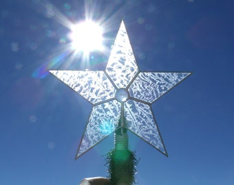 Large Glass Star Christmas Tree Topper, Classic 5 Point Star, Custom Stained Glass Tree Toppers