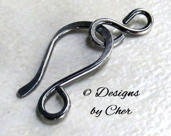 Oxidized Sterling Silver Hook & Eye Clasp (16ga) Hammered Metalwork Jewelry Findings, Handmade Antiqued Silver Component