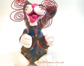 Cat Sculpture Polymer Clay Rainbow Splash Painted Whimsical Made to Order CTP0007