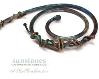 Hand Forged Copper and Wire Wrapped Nevada Turquoise Pendant Component PN415