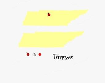 Tennessee, Nashville, Memphis, Vanderbilt, Titans, Ladybug, State, USA, Vector, SVG, Silhouette, Cricut, Commercial Use, Personal Use