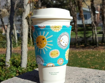 Fabric coffee cozy / coffee cup holder / coffee sleeve -- SUNSHINE on aqua
