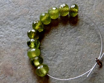 AAA Vesuvianite Faceted Rondelle Beads - 3.75-4mm - 10 Beads