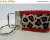Anniversary Sale Mini Key Fob -Leopard Key Chain - RED - Animal Print Key Chain - Cheetah Zipper Pull -Red Cheetah Key Ring - Small Keychain