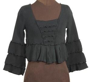 Cropped Black upcycled sweater / shrug with dramatic flared sleeves