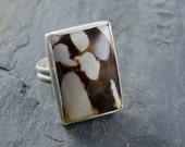 Peanut Wood Ring. Petrified Wood Jewelry. Cabochon Jewelry. Fossilized Wood Ring. Rectangle Gemstone. Size 7 Ring.