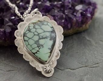 Tree Frog Variscite. Variscite Necklace. Silver Variscite Necklace. Gemstone Pendant. Stamped Pendant.