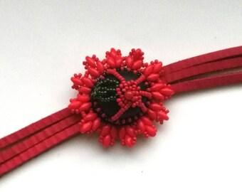Red Beadwoven Floral Bracelet, Crimson Super Duo, Christmas Holidays, Love & Romance, Red Leather Wrap Bracelet, Boho Valentine Bracelet
