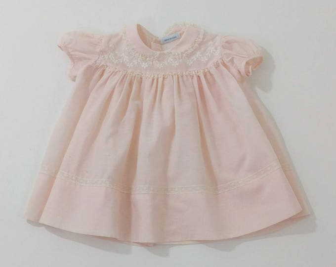 Vintage Nannette Pink Pastel Cotton Baby Girls' Dress with Embroidered Bodice, Peter Pan Collar with Lace, Puffed Sleeves, Size 3 - 6 Months