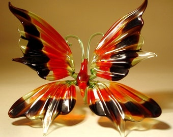Blown Glass Figurine Art Insect Black and Red BUTTERFLY