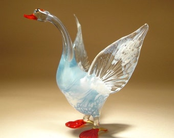 Handmade Blown Glass Figurine Art Bird White GOOSE