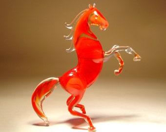 Handmade  Blown Glass Figurine Animal Rearing Bright Red HORSE
